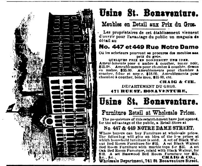 Publicité de l'Usine St. Bonaventure dans l'Annuaire Lovell 1880