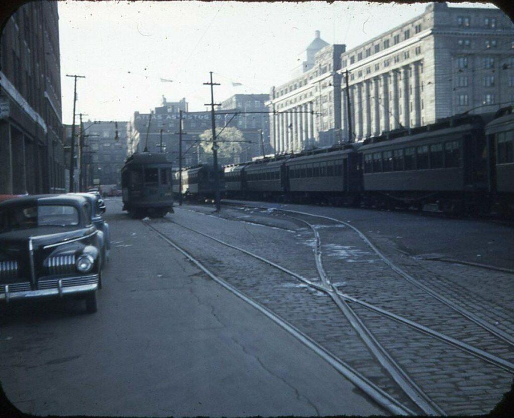 Les rails du terminus de la rue McGill, 1940