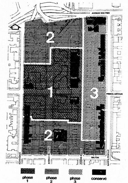 Plan des phases prévue de Milton-Parc