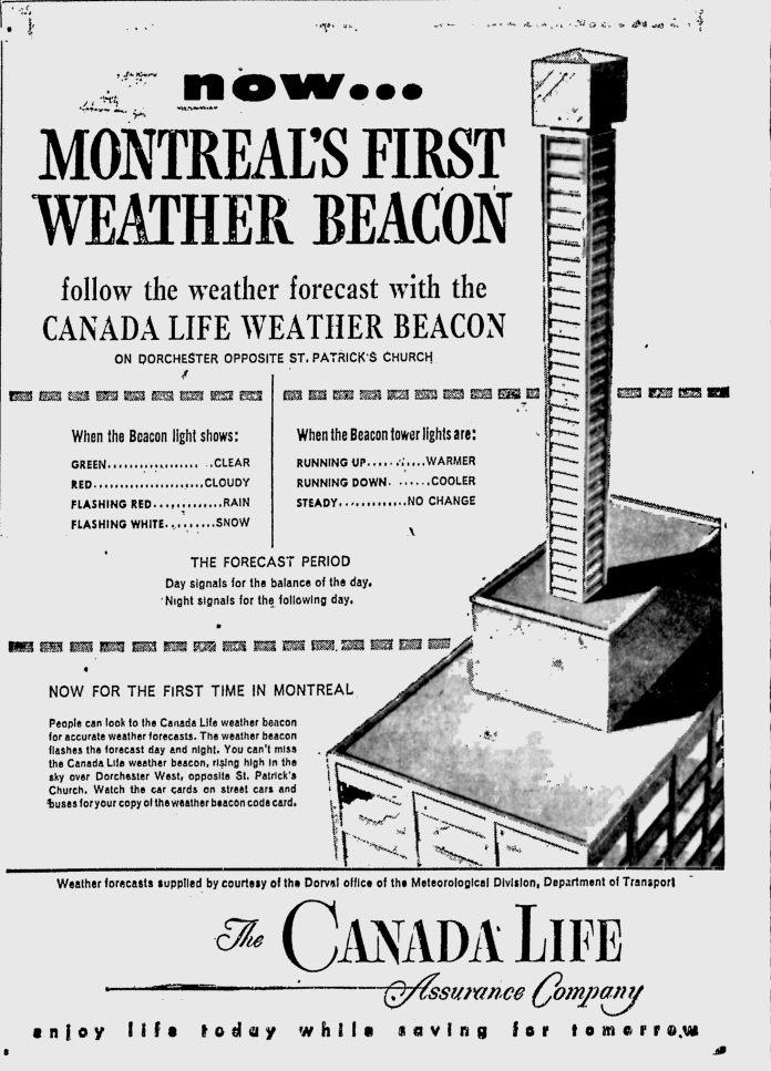 Publicité du weather beacon par la compagnie Canada Life.